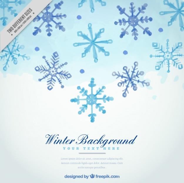Fundo do inverno com flocos de neve aquarela