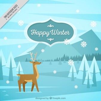 Fundo do inverno com lindo renas