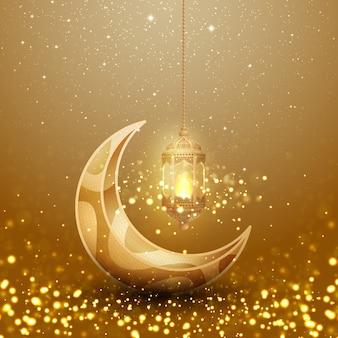 Fundo do kareem da ramadã com a lanterna e a lua de suspensão de incandescência.
