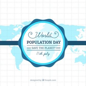 Fundo do mapa azul do dia da população
