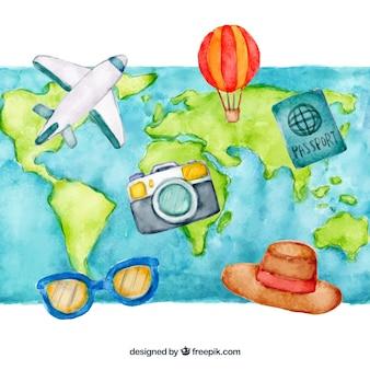 Fundo do mapa com elementos de viagem
