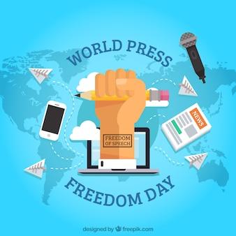 Fundo do mapa com o punho reivindicando a liberdade de imprensa