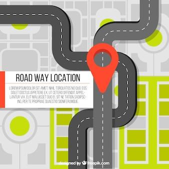 Fundo do mapa de estrada em design plano