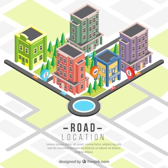 Fundo do mapa de estrada isométrica com edifícios