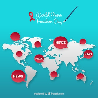Fundo do mapa do dia da liberdade de imprensa