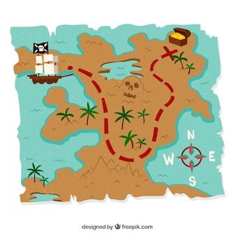 Fundo do mapa do tesouro com elementos