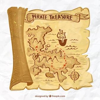 Fundo do mapa do tesouro desenhado à mão