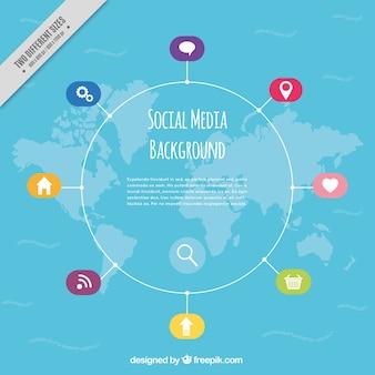 Fundo do mapa e das redes sociais