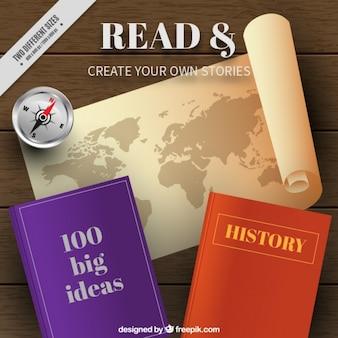 Fundo do mapa e dois livros interessantes