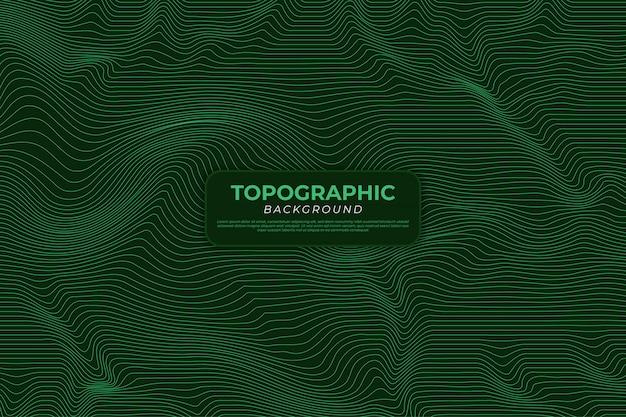 Fundo do mapa topográfico com linhas verdes