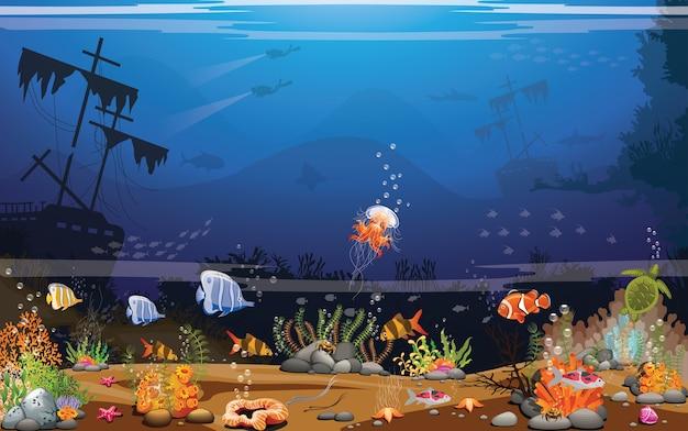 Fundo do mar escuro calmante mundo subaquático profundo