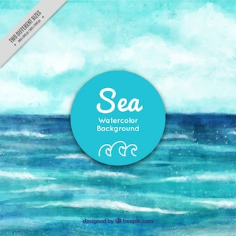 Fundo do mar pintado aguarela mão