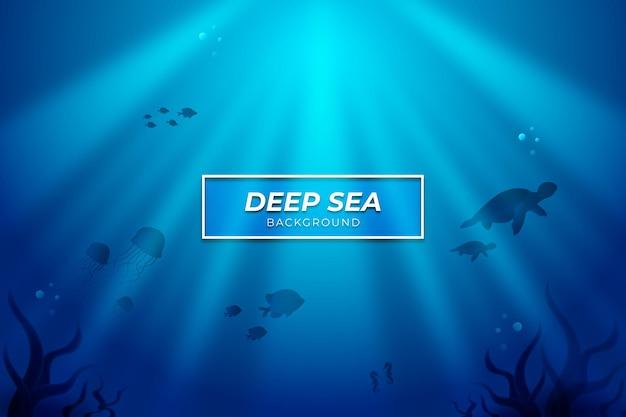 Fundo do mar profundo com cor azul animal