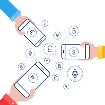 Fundo do mecanismo fin-tech (tecnologia financeira) com o conceito de troca de moeda.