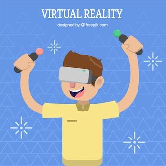 Fundo do menino que joga com controles de realidade virtual