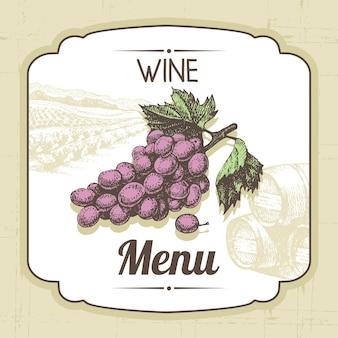 Fundo do menu de vinhos vintage. ilustração desenhada à mão