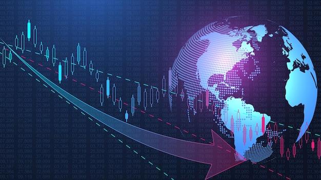 Fundo do mercado de ações ou gráfico gráfico de negócios de negociação forex para o conceito de investimento financeiro. apresentação de negócios para seu projeto. tendências da economia, ideia de negócio e design de inovação tecnológica.