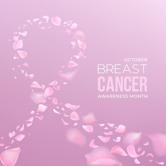 Fundo do mês de conscientização do câncer de mama com pétalas de rosa