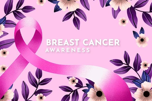 Fundo do mês de conscientização do câncer de mama em aquarela