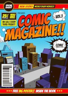 Fundo do modelo de capa em quadrinhos, brochura de panfleto.