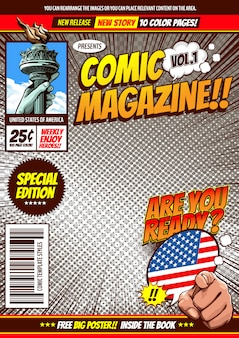 fundo do modelo de capa em quadrinhos.