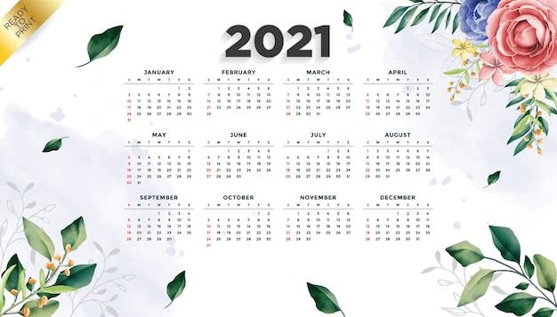 Fundo do modelo floral do layout do calendário do ano 2021 com uma bela flor