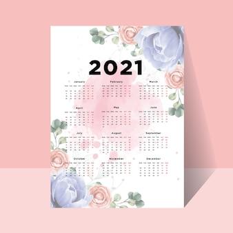 Fundo do modelo floral do layout do calendário do ano 2021