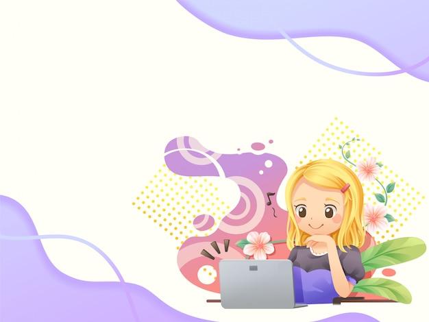 Fundo do modelo web com pessoas que trabalham no laptop3 - vector