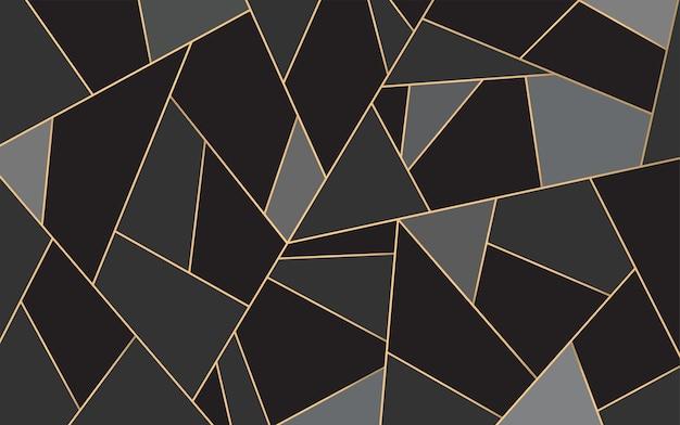 Fundo do mosaico de linhas pretas e douradas abstract lines pattern