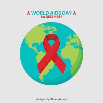 Fundo do mundo com a fita vermelha do dia mundial do sida