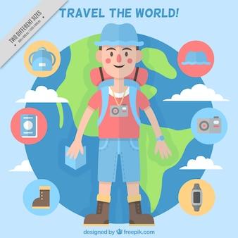 Fundo do mundo viajante com elementos