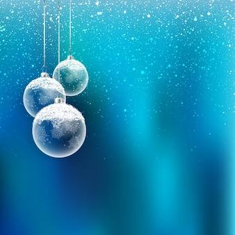 Fundo do natal com baubles de suspensão e flocos de neve