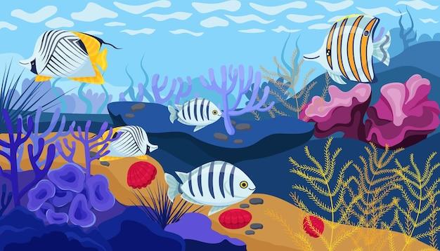 Fundo do oceano, corais, algas e conchas em cores brilhantes e peixes bonitos. ilustração vetorial