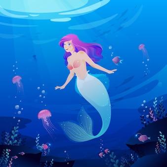 Fundo do oceano da linda sereia