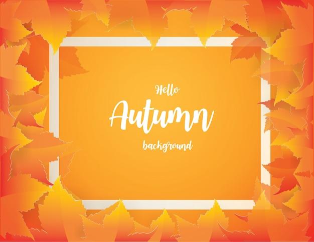 Fundo do outono com as folhas de outono de queda vermelhas, alaranjadas, marrons e amarelas.