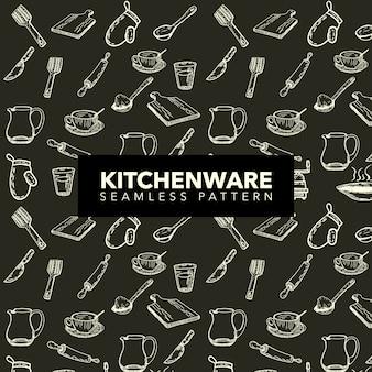 Fundo do padrão de utensílios de cozinha