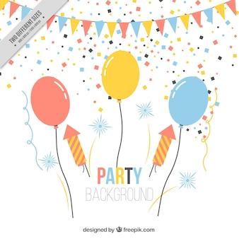 Fundo do partido de aniversário com balões e confetti