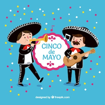 Fundo do partido de cinco de mayo com mariachis