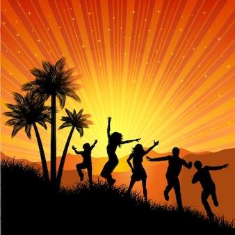 Fundo do partido do verão com silhueta da dança