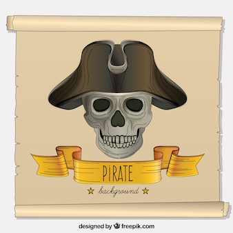 Fundo do pergaminho com crânio do pirata