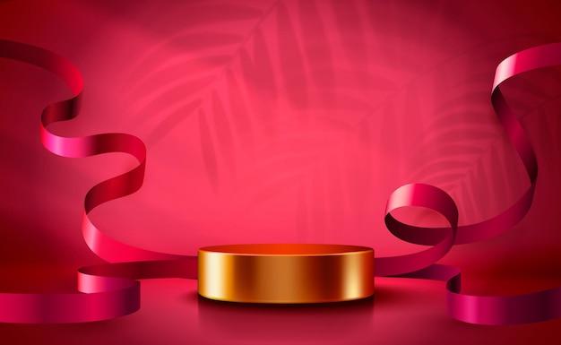 Fundo do pódio do cilindro do fundo da cena abstrata com apresentação do produto de confetes e fitas.