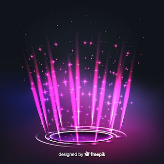 Fundo do portal holograma rosa realista