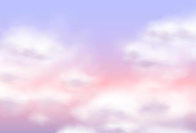 Fundo do projeto do vetor de nuvens rosa de algodão de açúcar. cenário de conto de fadas mágico. textura fofa do céu. pano de fundo com decoração elegante em tons pastel, papel de parede moderno
