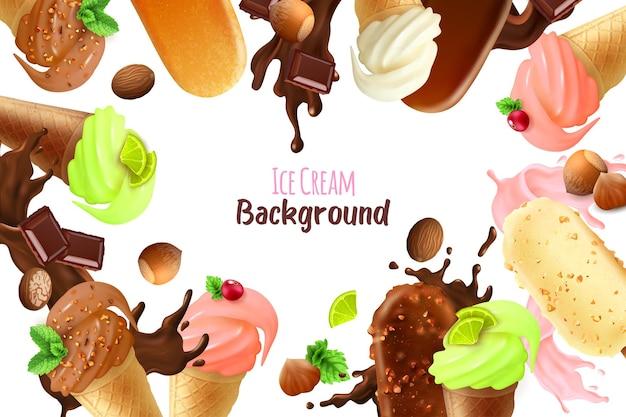 Fundo do quadro com diferentes variedades e formas de sorvete realistas