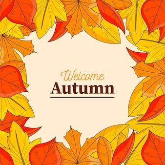 Fundo do quadro com folhas de outono desenhadas