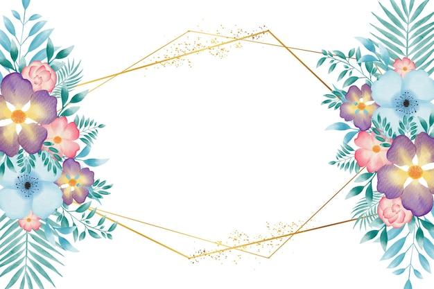 Fundo do quadro da grinalda floral em aquarela colorida