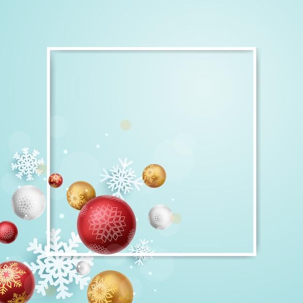 Fundo do quadro de feliz natal com bolas vermelhas e douradas e flocos de neve