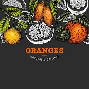Fundo do quadro de frutas cítricas