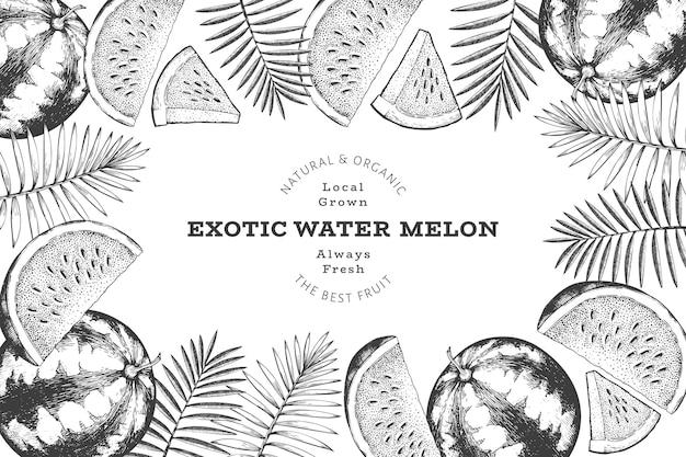 Fundo do quadro de melancia e folhas tropicais