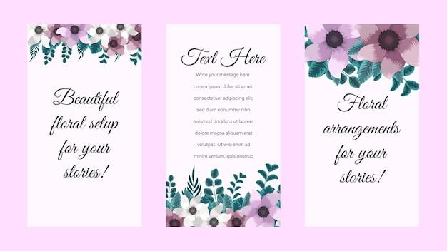 Fundo do quadro do projeto do modelo da história do instagram em mídias sociais editáveis em lindas flores macias